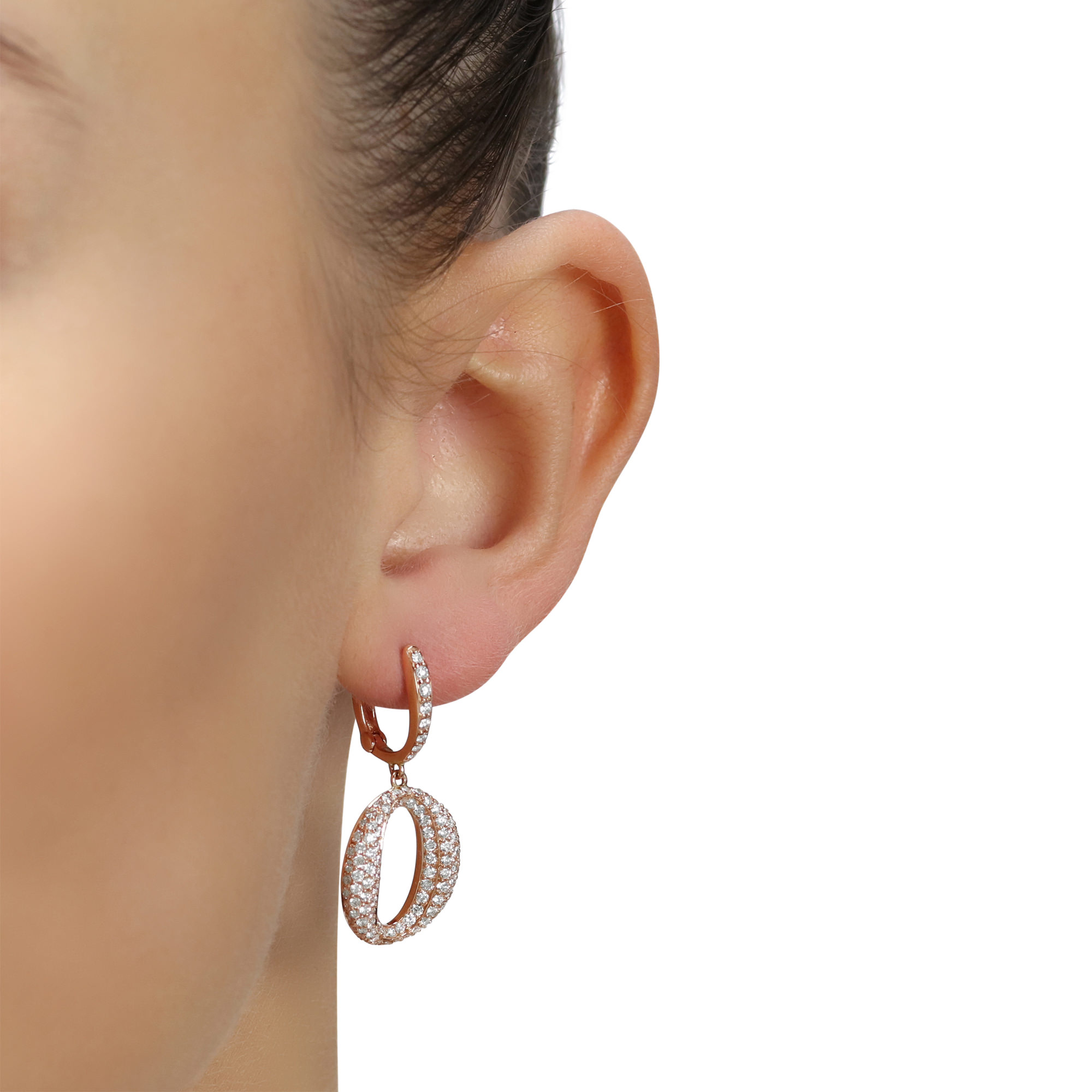 Surround Rose Gold Diamond Earrings
