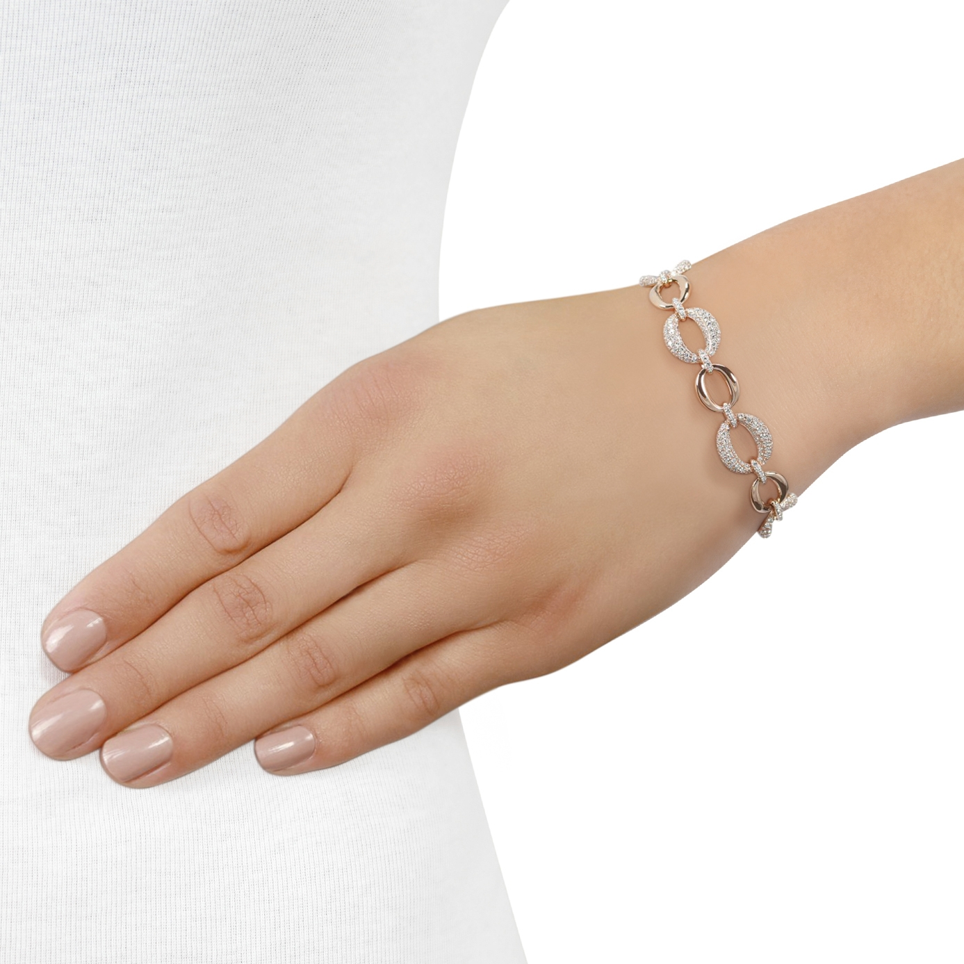 Surround Rose Gold Diamond Link Bracelet