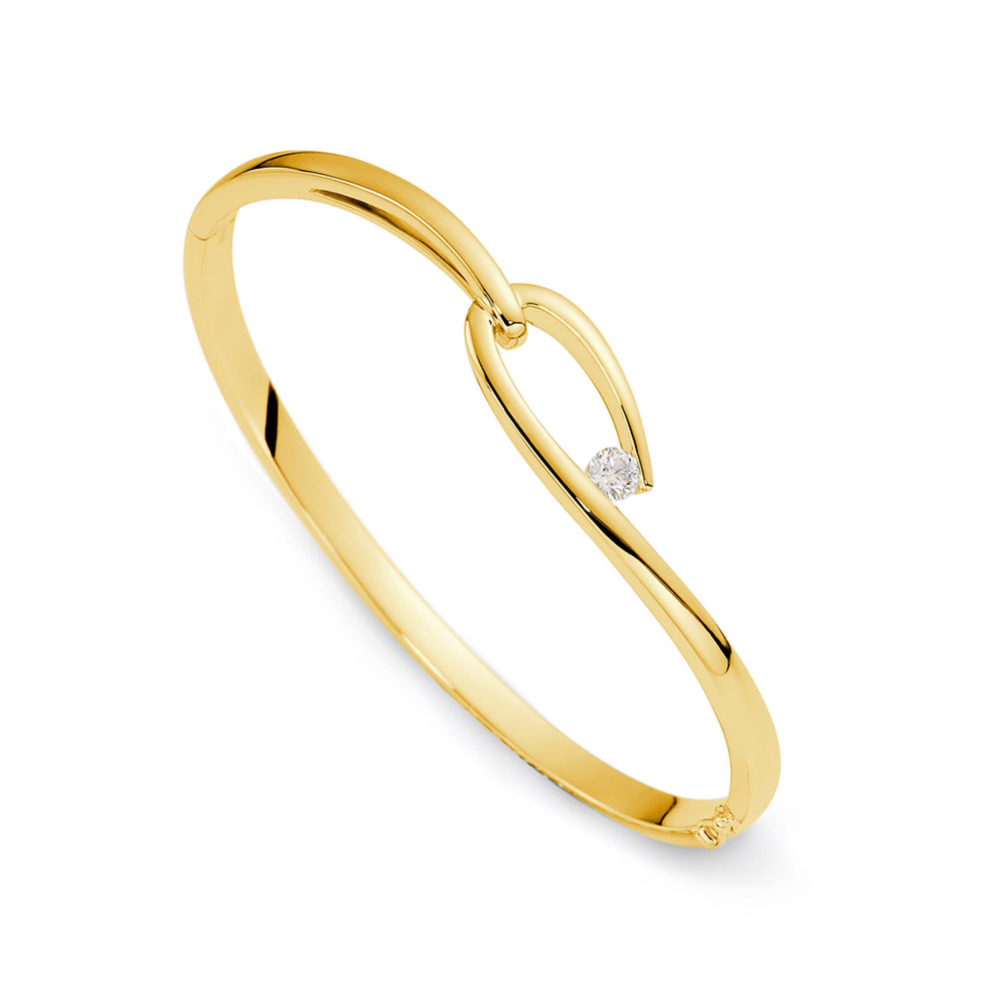 You're the One Yellow Gold Diamond Bangle