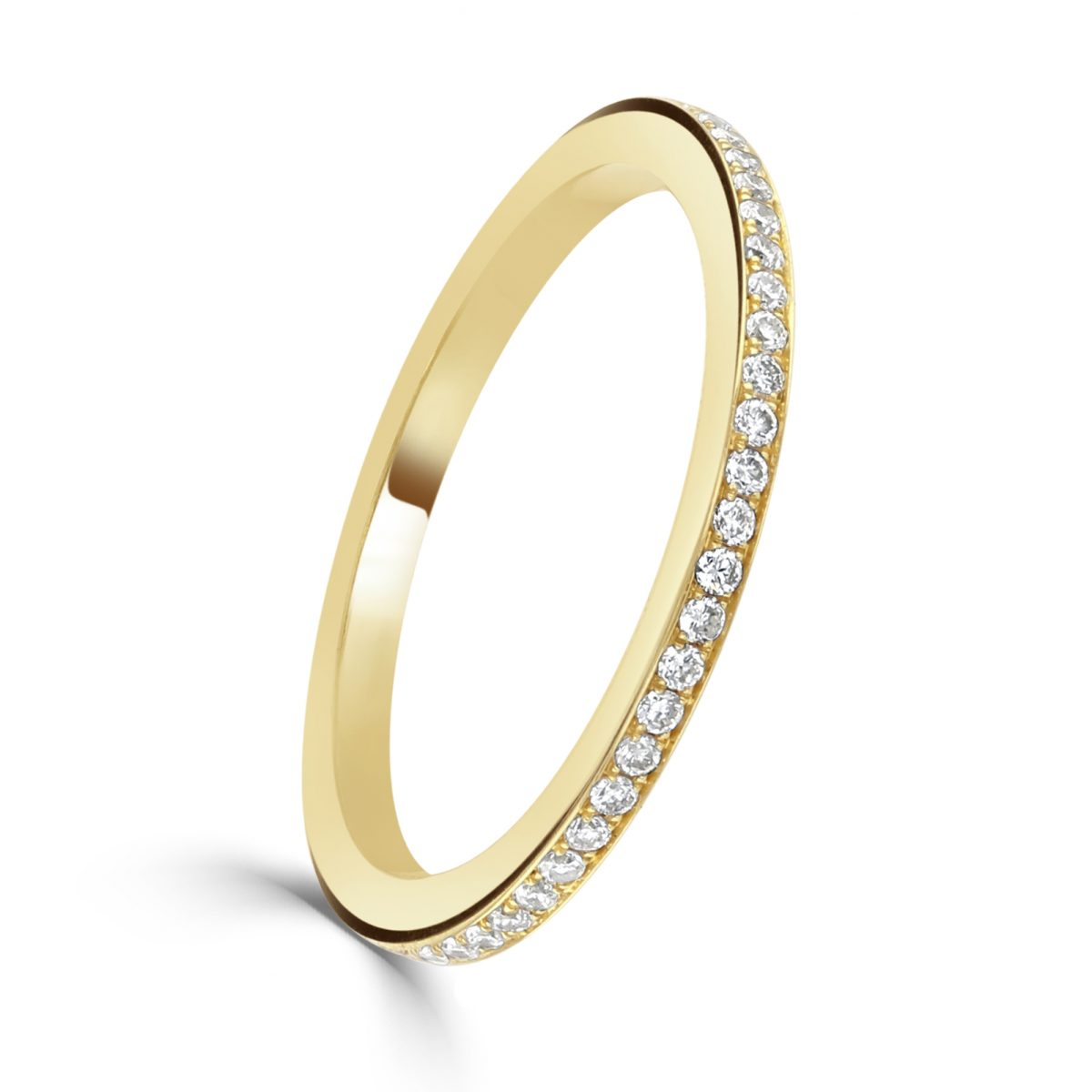Yellow Gold Diamond Set Fine Eternity Ring