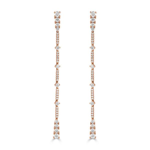 Rose Gold Graduated Diamond Drop Earrings