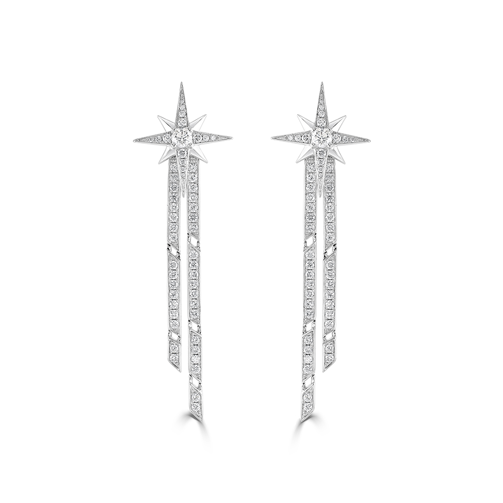 Star White Gold Diamond Statement Earrings