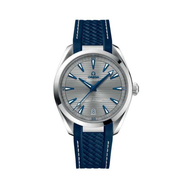 Omega 220.12.41.21.06.001 Steel dial on Navy rubber strap