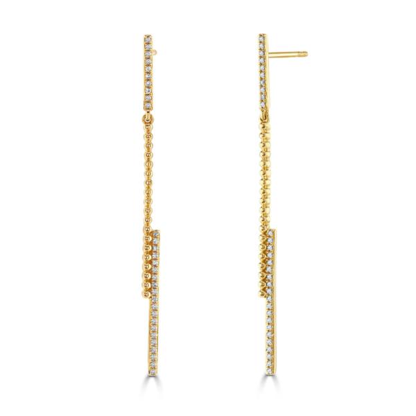 Asymmetrical Rose Gold Diamond Drop Earrings