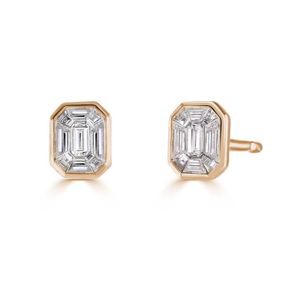 Rose Gold Baguette Diamond Stud Earrings