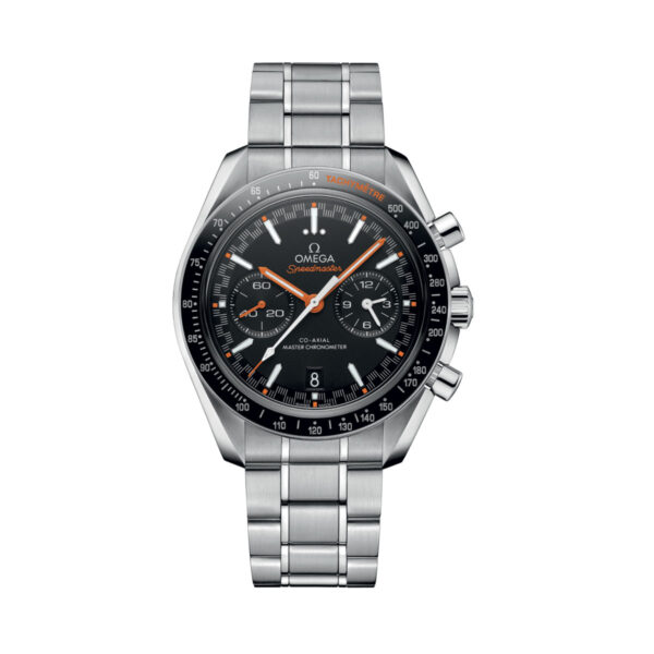 Omega 329.30.44.51.01.002, black dial with orange detail on stainless steel bracelet