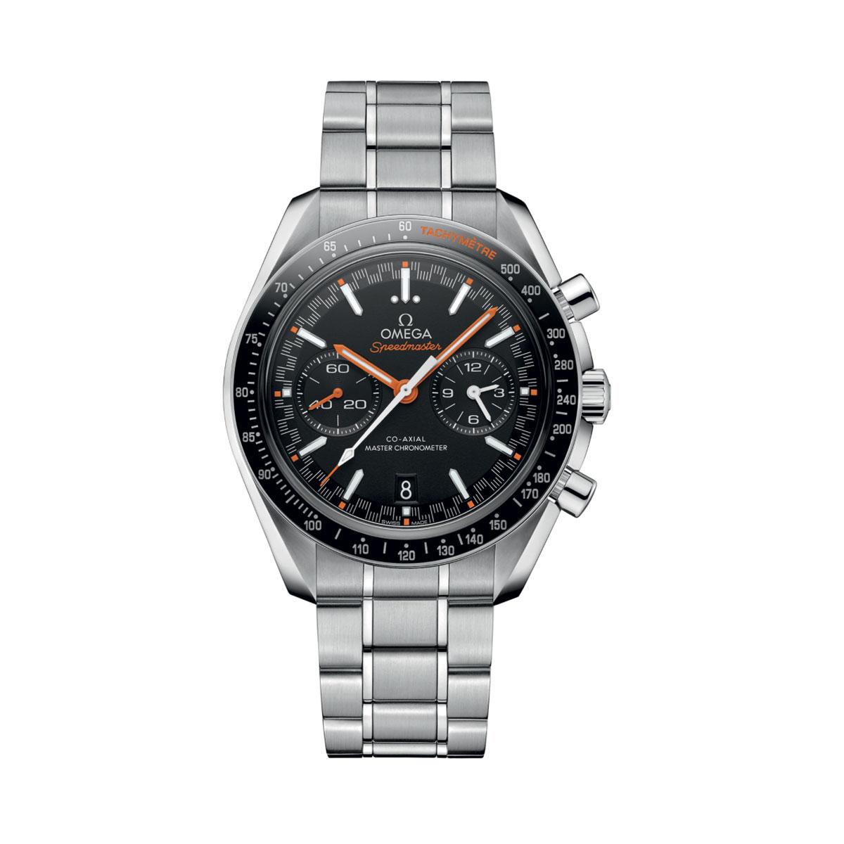 Omega 329.30.44.51.01.002, black dial with orange detail on stainless steel bracelet
