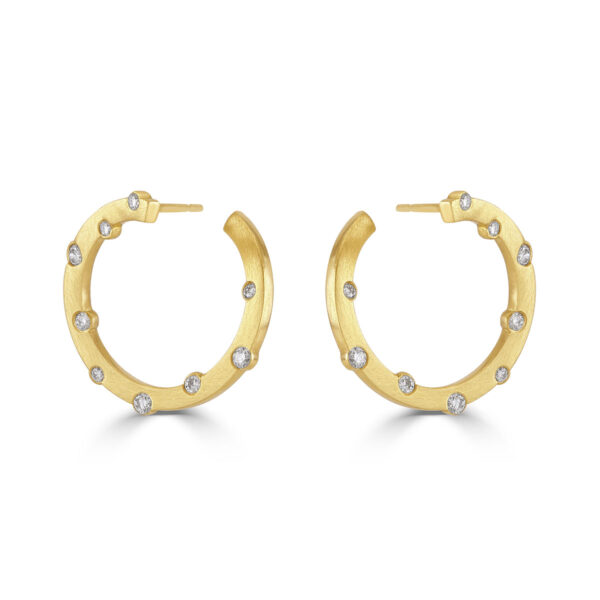 New Cloud Nine Yellow Gold Stud Hoop Statement Earrings from DMR