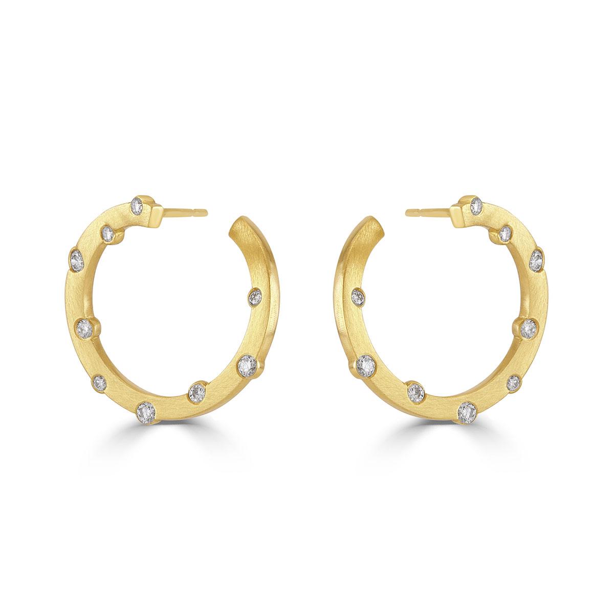 Cloud Nine Yellow Gold Hoop Diamond Earrings