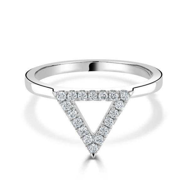 Helena White Gold Diamond Triangle Ring