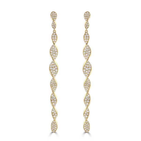Yellow gold and diamond twist drop earrings