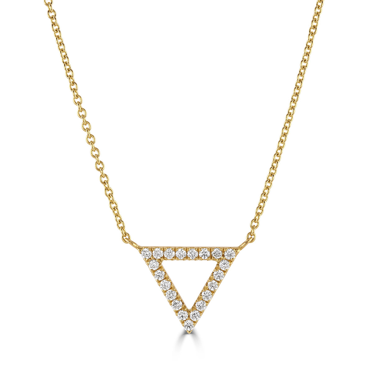 Helena Yellow Gold Diamond Triangle Pendant