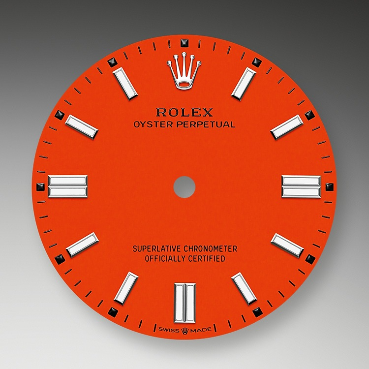 Coral red dial