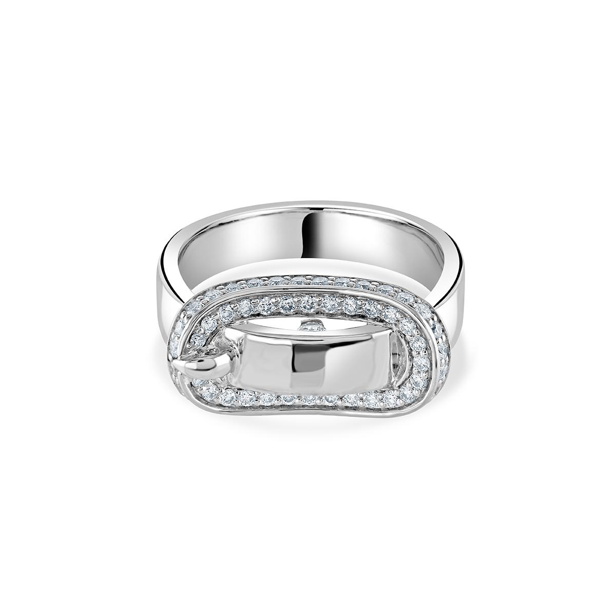 White Gold Diamond Buckle Ring