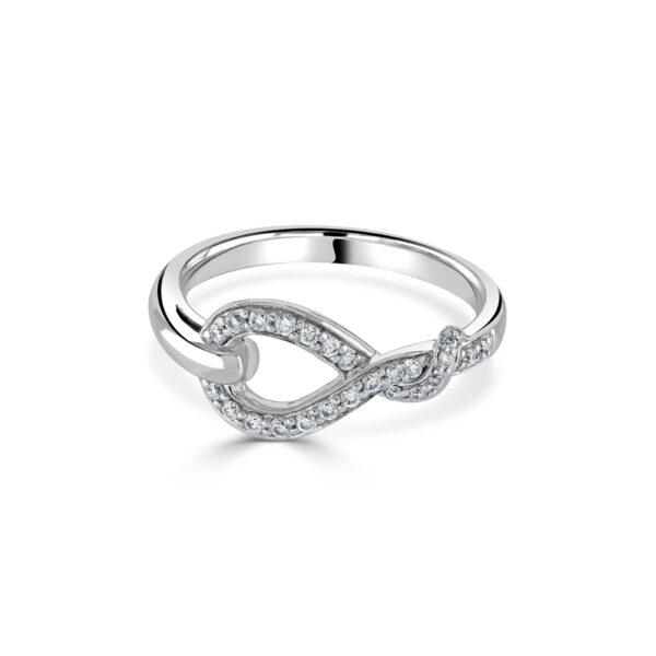 White Gold Diamond Knot Ring