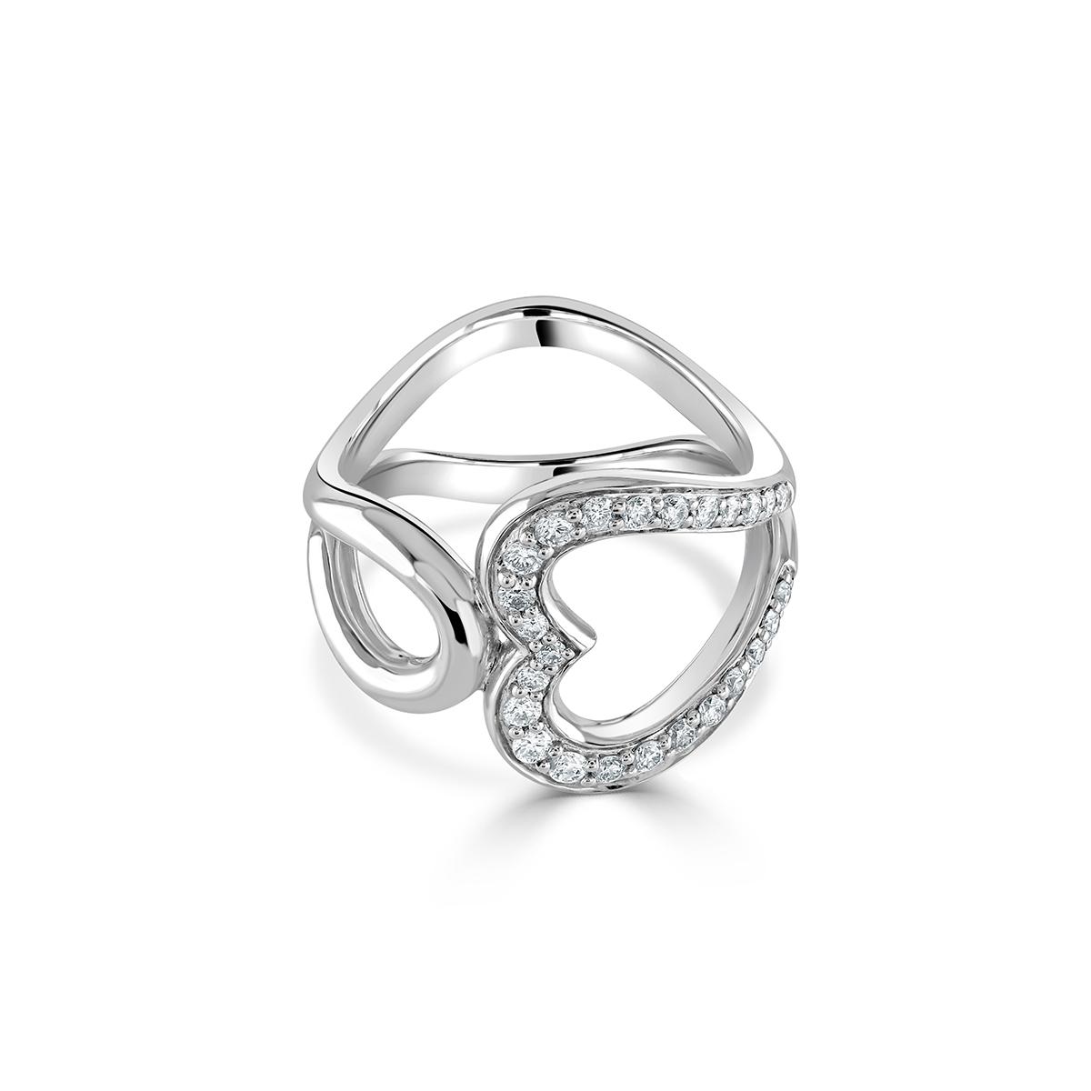 White Gold Open Heart Diamond Ring