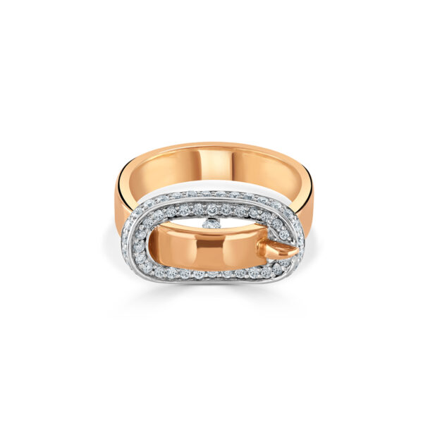 White and Rose Gold Diamond Buckle Ring
