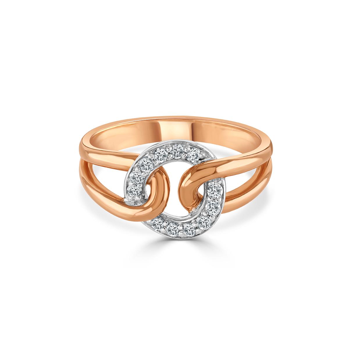 White and Rose Gold Diamond Circle Ring