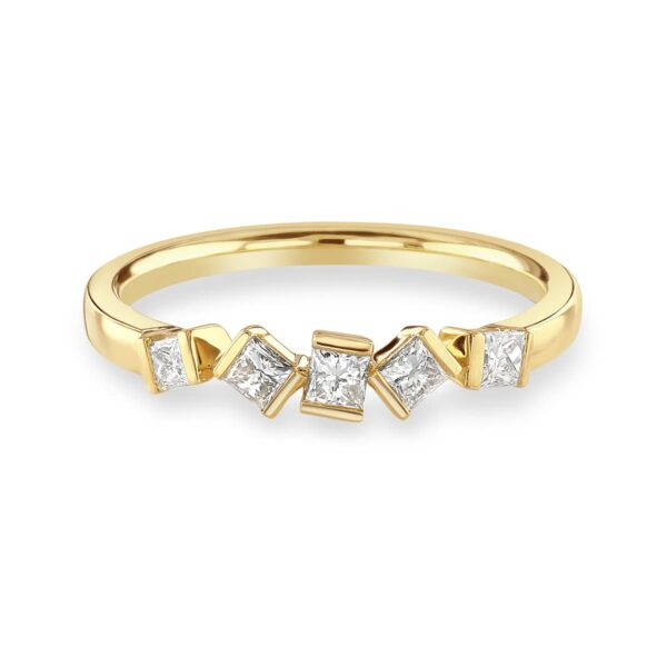 Hopscotch Yellow Gold Diamond Stacking Ring