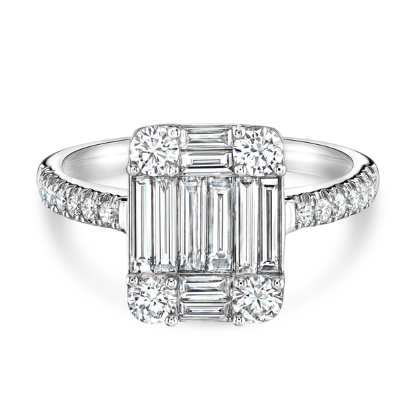 Baguette Cut White Gold Diamond Ring