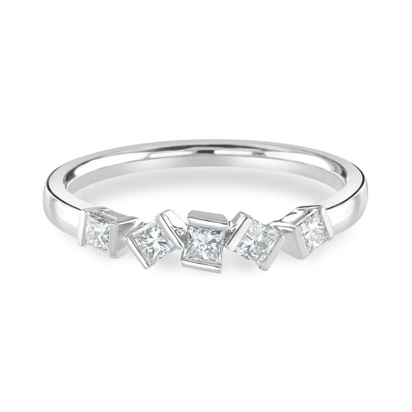 Hopscotch White Gold Diamond Stacking Ring