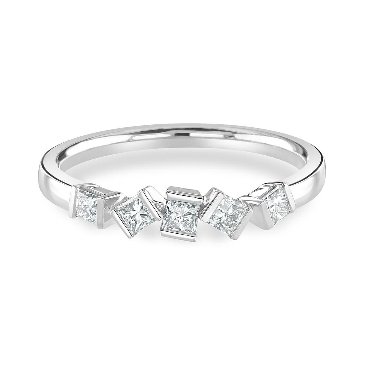 Hopscotch White Gold Diamond Stacking Ring