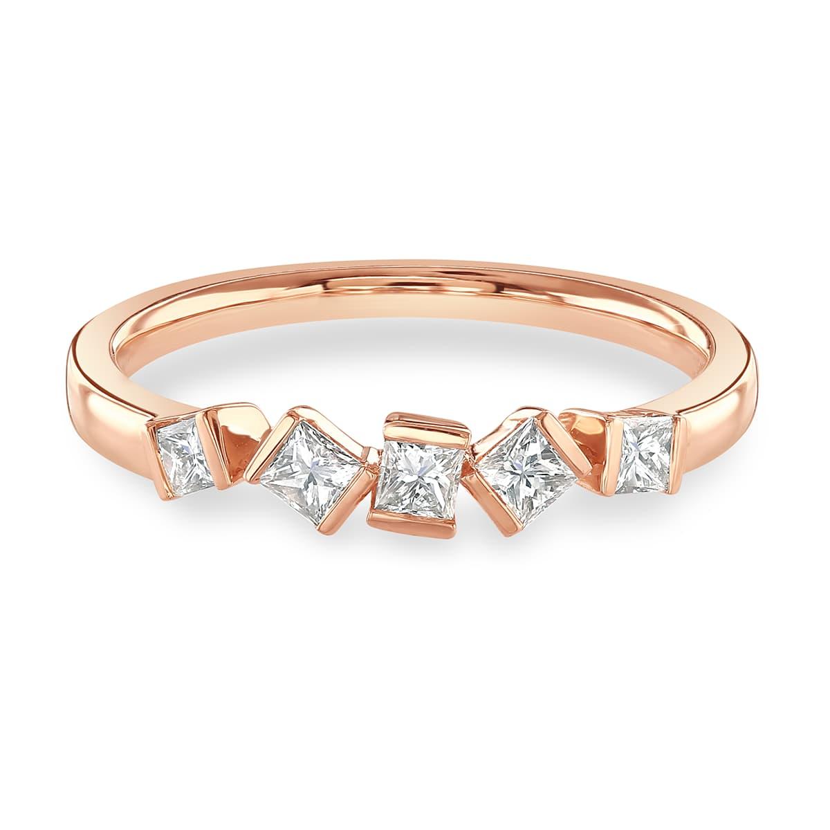 Hopscotch Rose Gold Diamond Stacking Ring