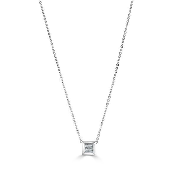 White Gold Princess Cut Diamond Pendant