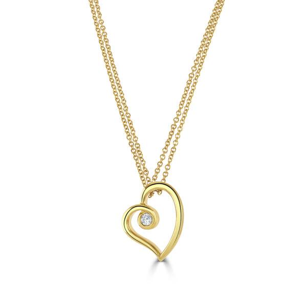 Yellow Gold Heart Diamond Pendant