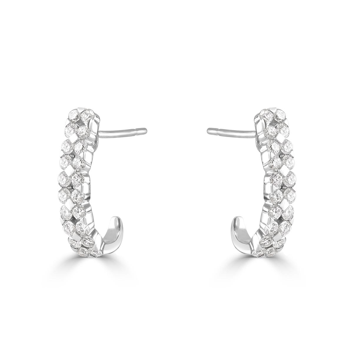 White Gold Diamond Open Hoop Earrings