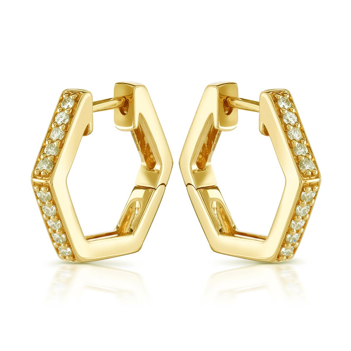 Honeycomb Yellow Gold Diamond Earrings