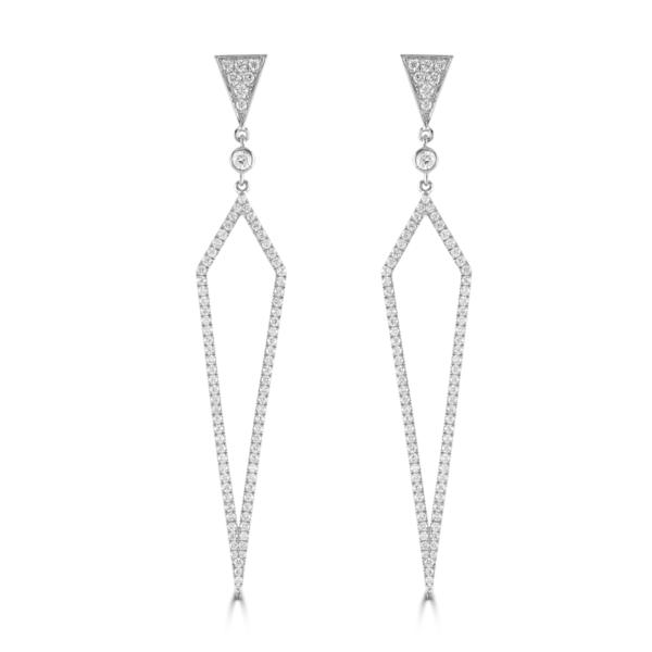 Dagger White Gold Diamond Drop Earrings