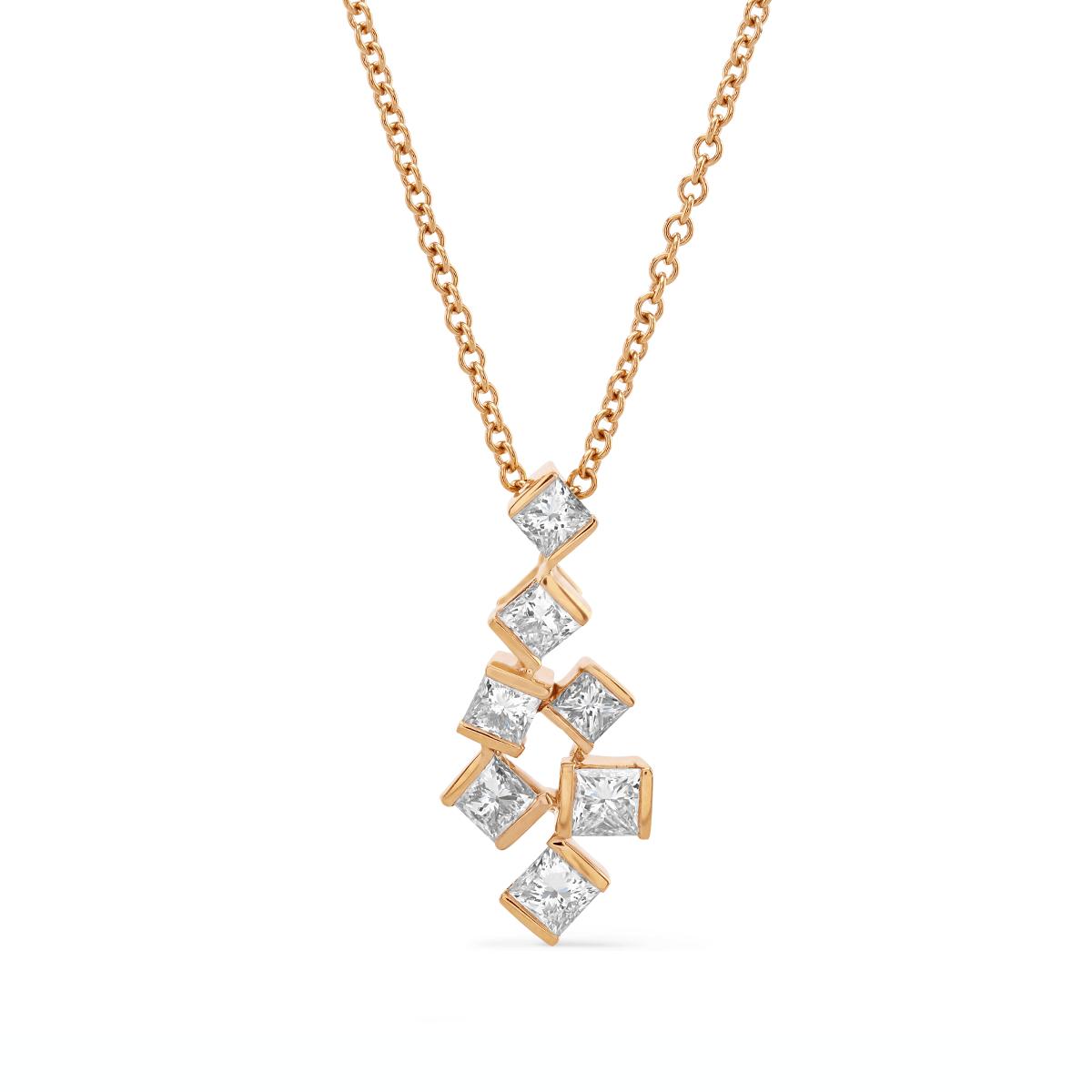 Hopscotch Rose Gold Diamond Necklace