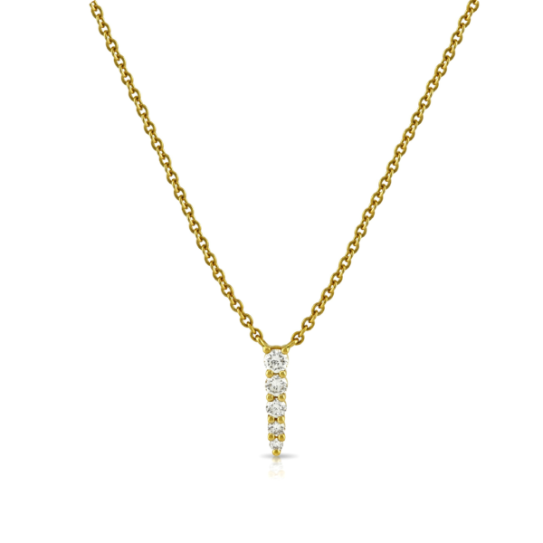 Five Stone Yellow Gold Diamond Drop Necklace