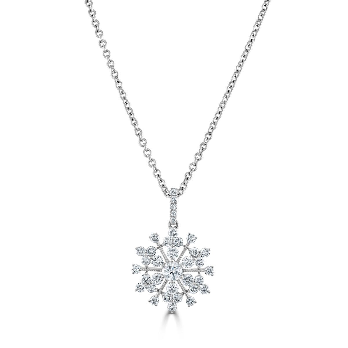 White Gold Diamond Snowflake Pendant