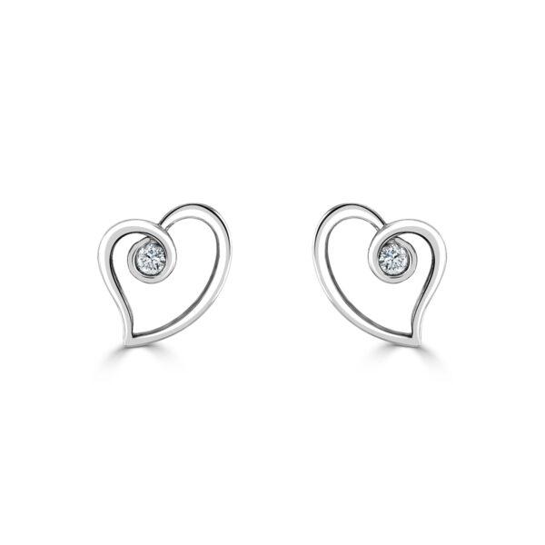 White Gold Heart Shaped Diamond Earrings