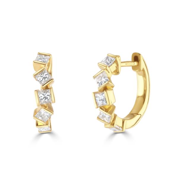 Hopscotch Yellow Gold Diamond Hoop Earrings