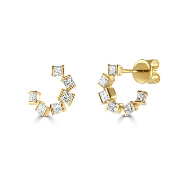 Hopscotch Yellow Gold Diamond Earrings