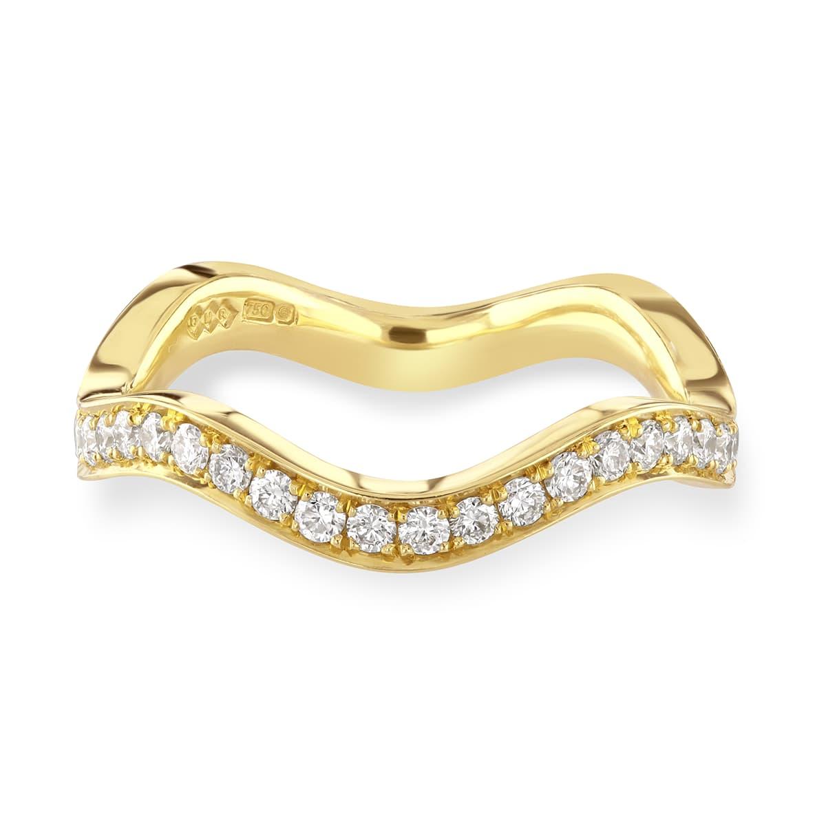 Wave Yellow Gold Diamond Stacking Ring