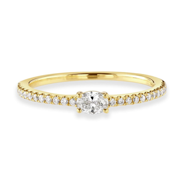 Oval Cut Yellow Gold Diamond Stacking Ring