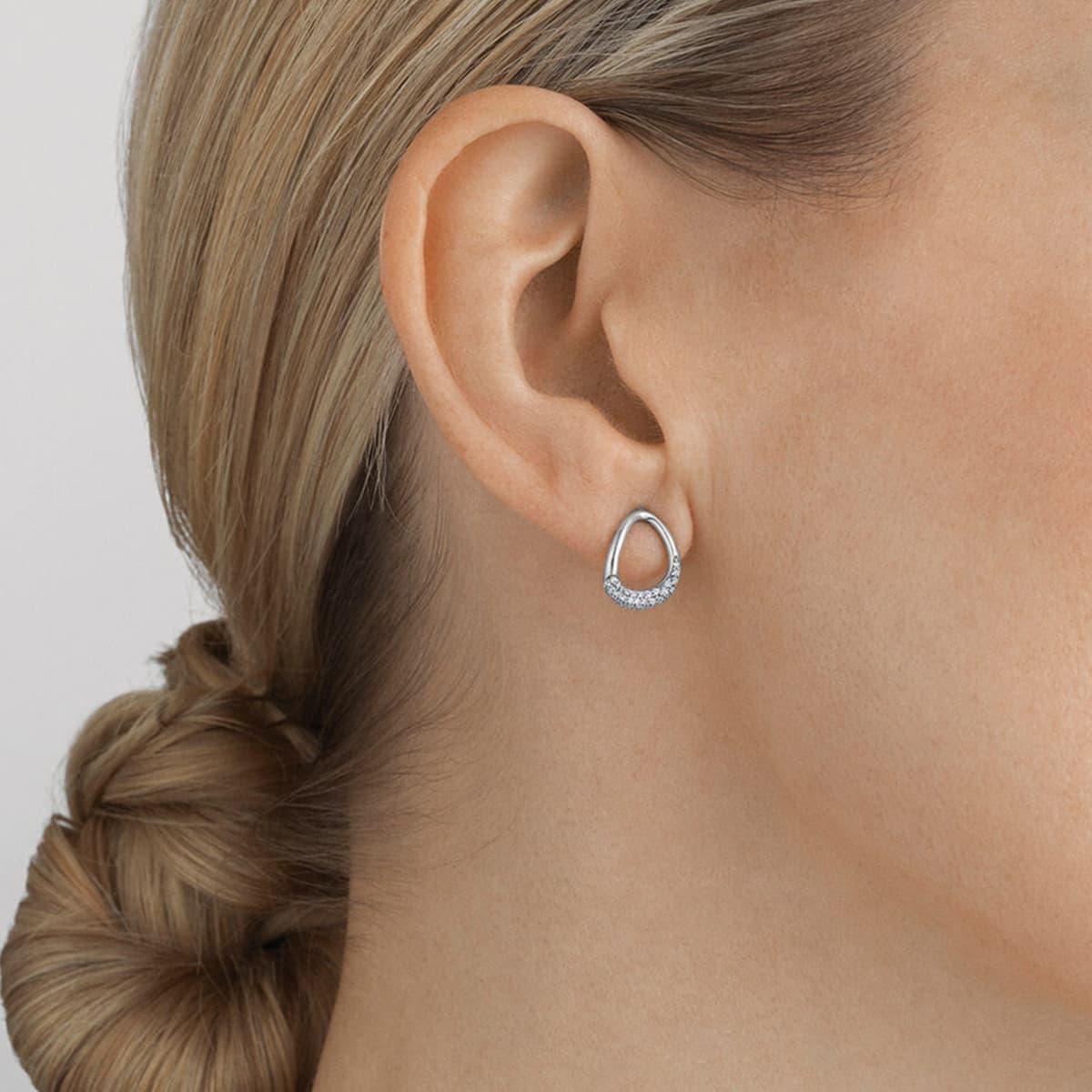 Offspring Sterling Silver & Pavé-Set Diamond Earrings