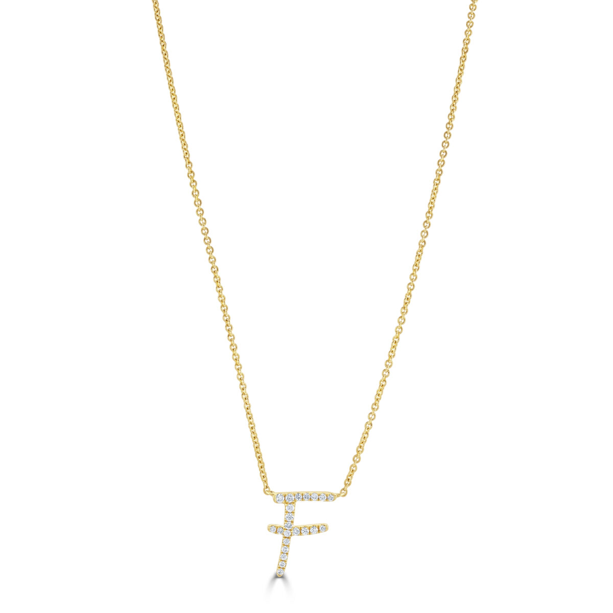 Initial Yellow Gold Diamond Necklace