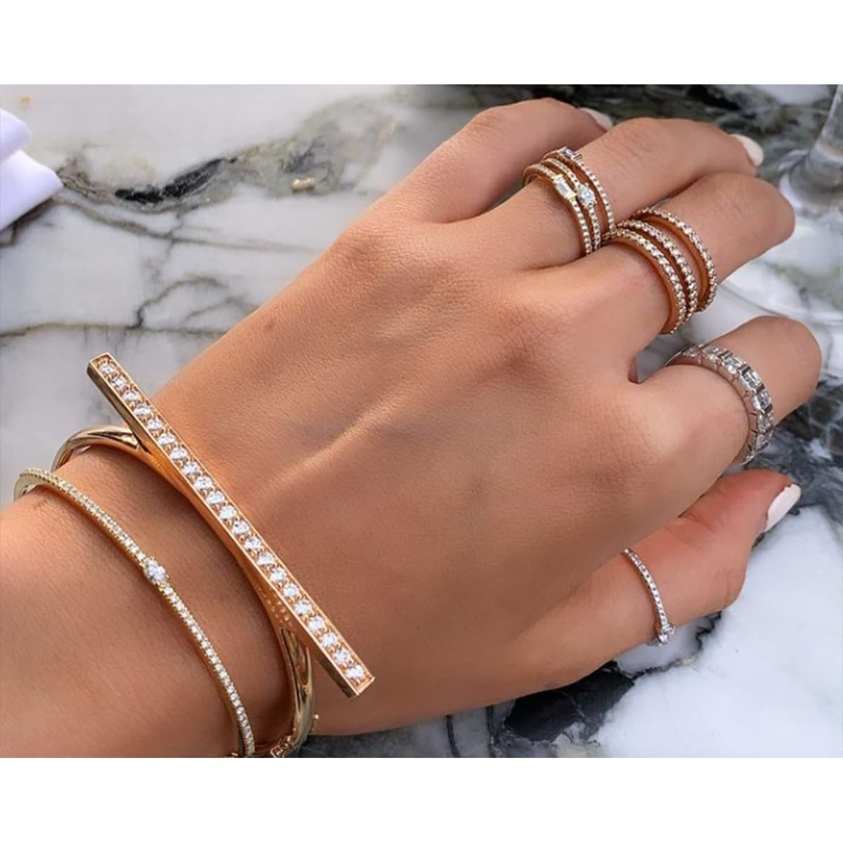 Split Band Rose Gold Diamond Ring