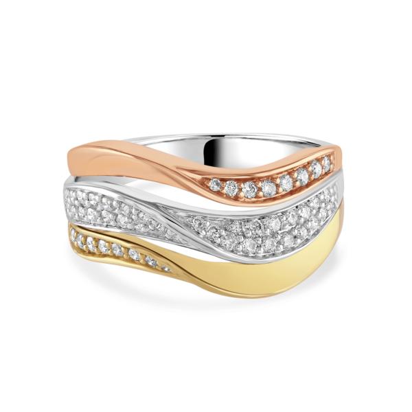 Rose, White and Yellow Gold Diamond Ring