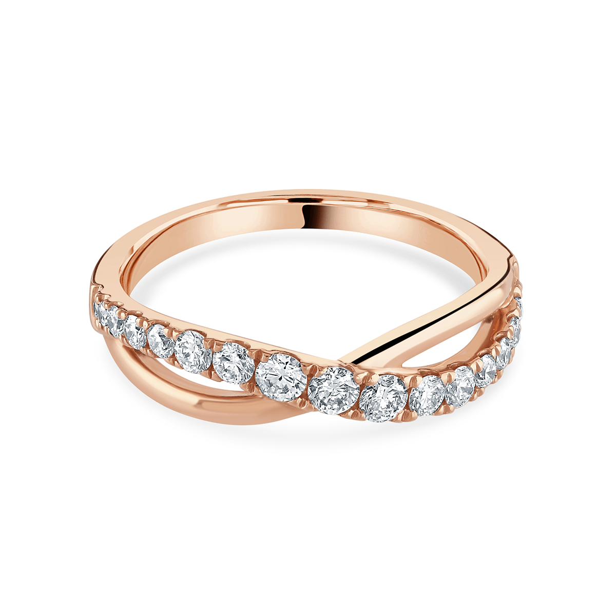 Rose Gold Half Twist Diamond Ring