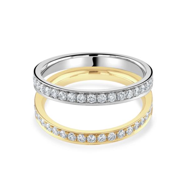 Yellow Gold and Platinum Diamond Ring