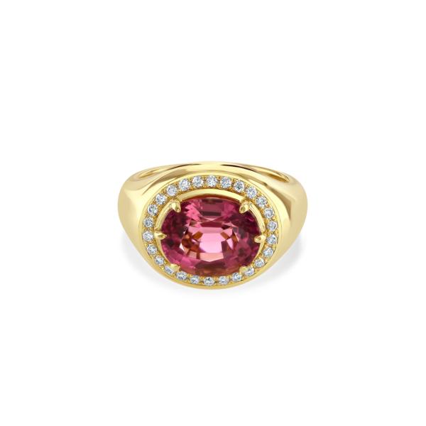 Yellow Gold Pink Tourmaline and Diamond Ring