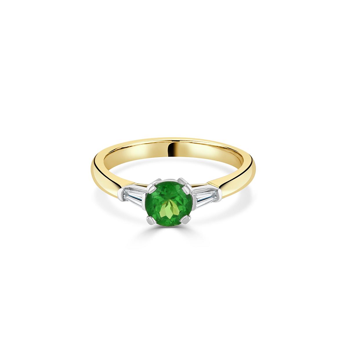 Yellow Gold Tsavorite and Diamond Ring