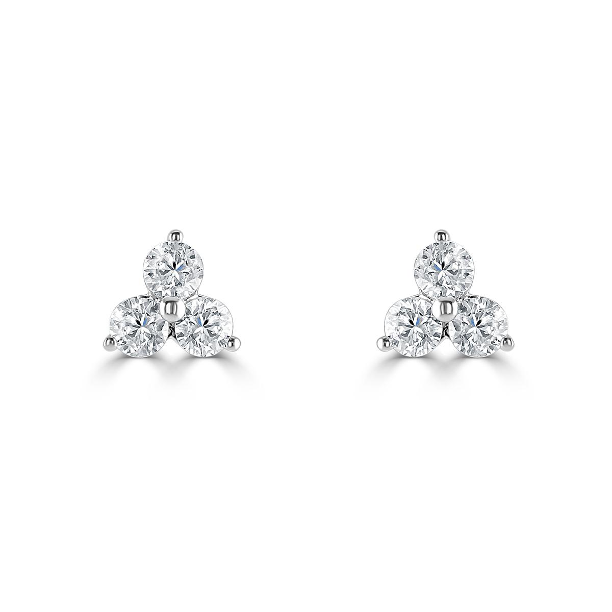 Three Stone White Gold Diamond Stud Earrings