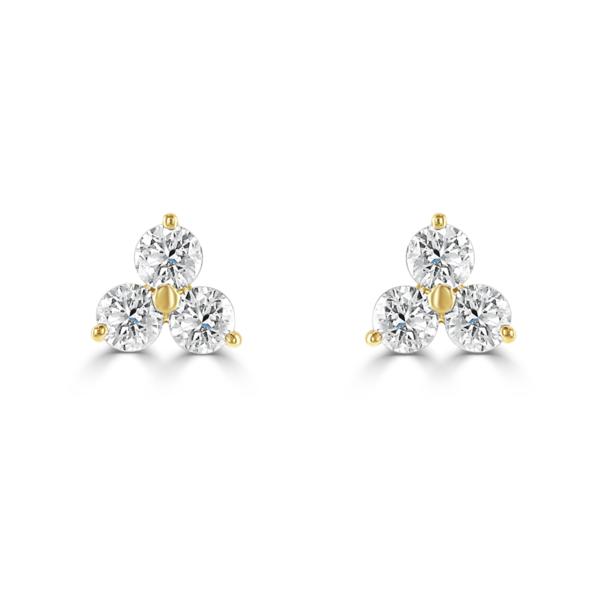 Three Stone Yellow Gold Diamond Stud Earrings